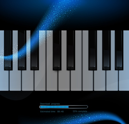 music stave: Piano keyboard on a dark blue star background with elements of the web Illustration