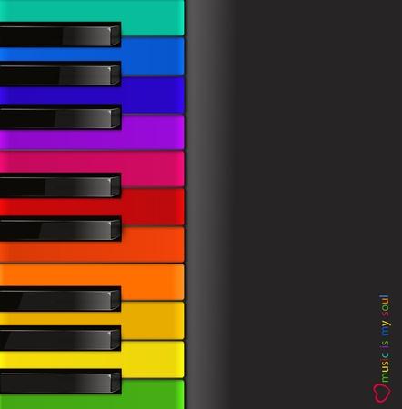 teclado de piano: Teclado de un piano de colores sobre un fondo negro Vectores