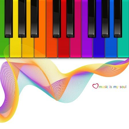 Piano della tastiera colorata su uno sfondo bianco