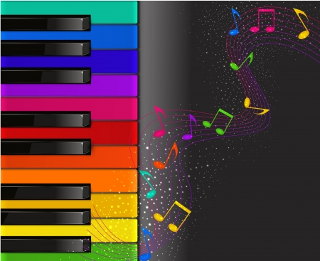 Colorful piano keyboard with musical notes on a black background Illustration