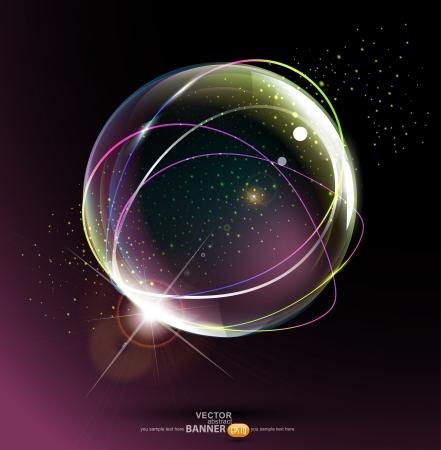 bola de cristal: bola de espacio abstracto sobre un fondo oscuro Vectores