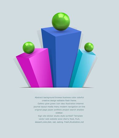 abstract 3d background with multi-colored prisms and green balls Vector