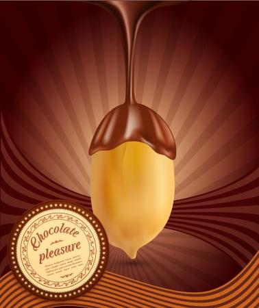 チョコレートとピーナッツのベクトルの背景