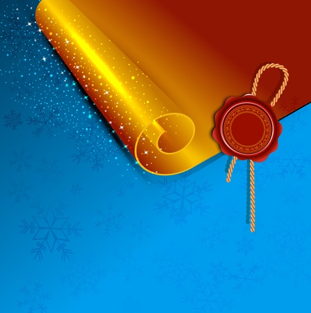 New Year's scroll with the wax seal of Santa on a holiday background Vector
