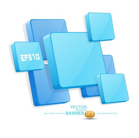 building blocks business: background with blue 3D panels Illustration