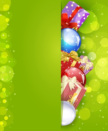 Christmas green background with  gifts and balls Vector