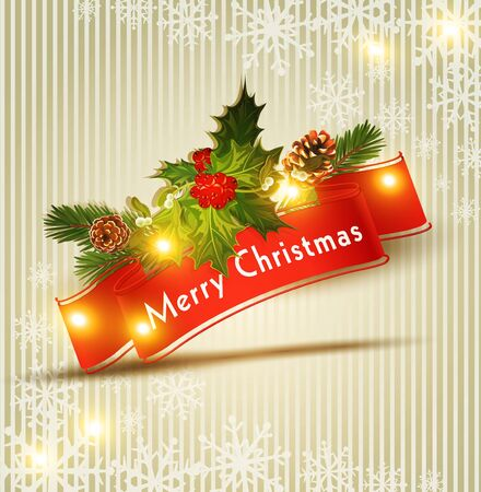 festive Christmas background with red ribbon Stock Vector - 16442731