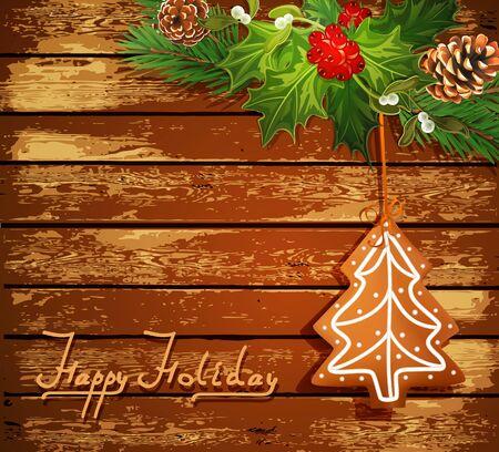 galletas de jengibre: De fondo de Navidad con el árbol de Navidad y dulces