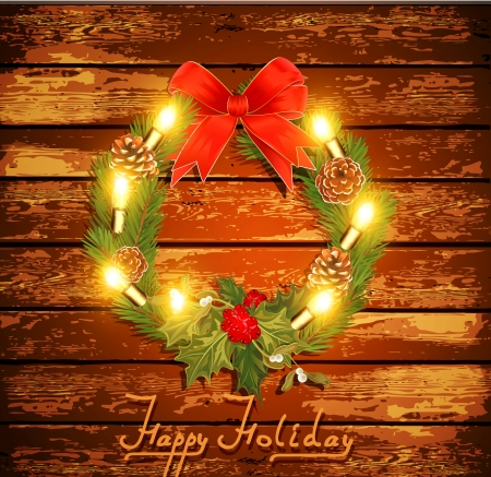 Christmas background with garland on a wooden wall Stock Vector - 16442737