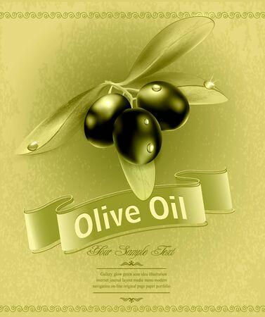 hoja de olivo: fondo retro con aceitunas y una cinta