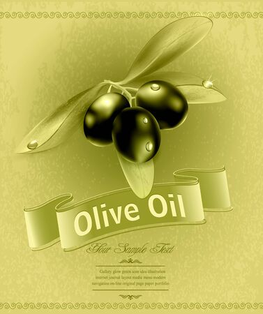food label:  retro background with olives and a ribbon