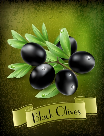 oil pastels:  background with black olives and a ribbon Illustration