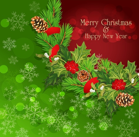 vector holiday background with Christmas garland, hally Vector