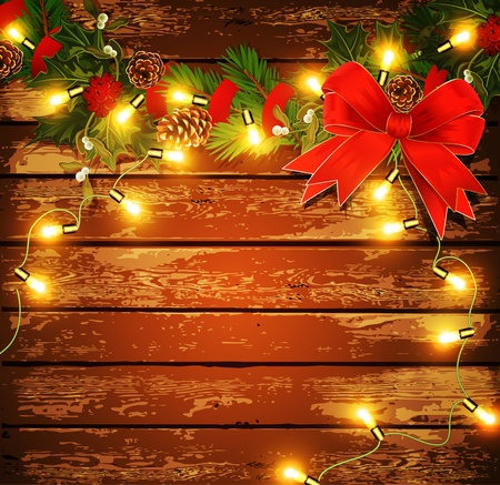 Christmas background with garland on a wooden wall Vector