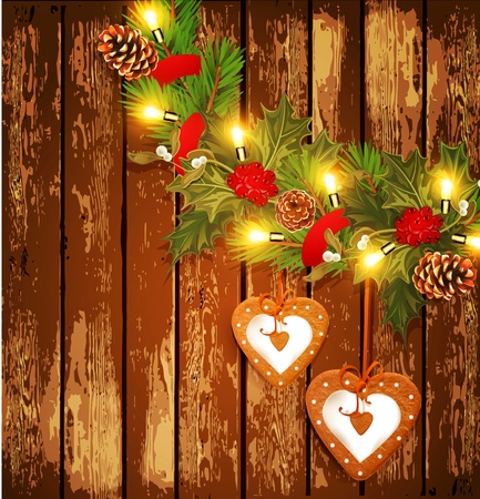 Christmas background with Christmas garland  and candy  on a wooden wall Vector
