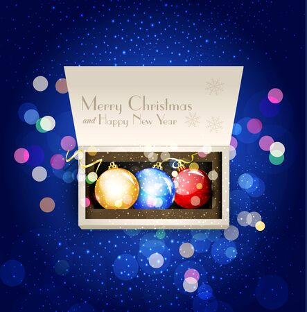 holiday background with open box and Christmas balls Stock Vector - 16584468