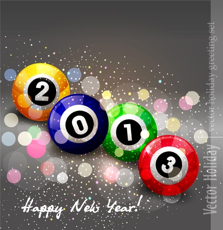 christmas background  2013  with billiard balls Stock Vector - 16805057