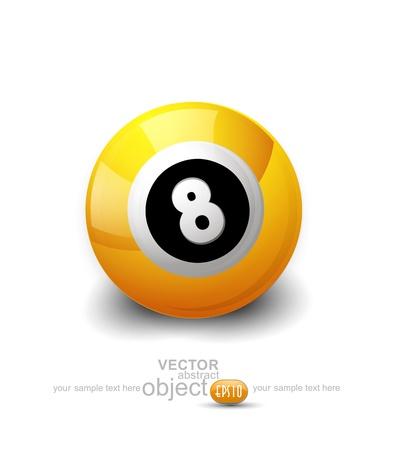 bola ocho: bola de color amarillo con el número 8 en un fondo blanco Vectores