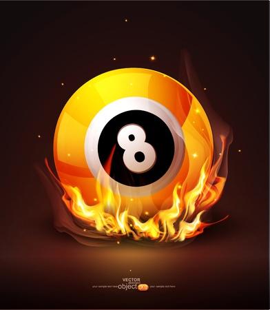 burning billiard ball on a dark background Illustration