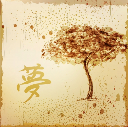 oriental season: background with a tree and a character in the Japanese style