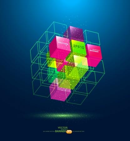 벡터 추상 다채로운 큐브 일러스트