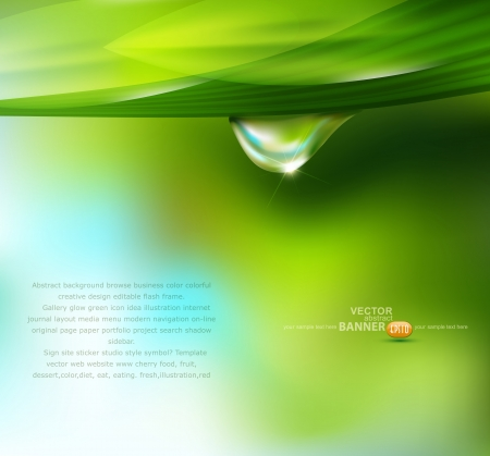 ochtend dauw: Vector druppel dauw op een achtergrond van de hemel en groen Stock Illustratie