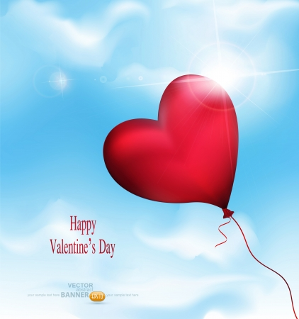 vector balloon-hearts flying in the sky Vector