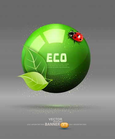 wereldbol groen: vector groene bol met bladeren en lieveheersbeestje