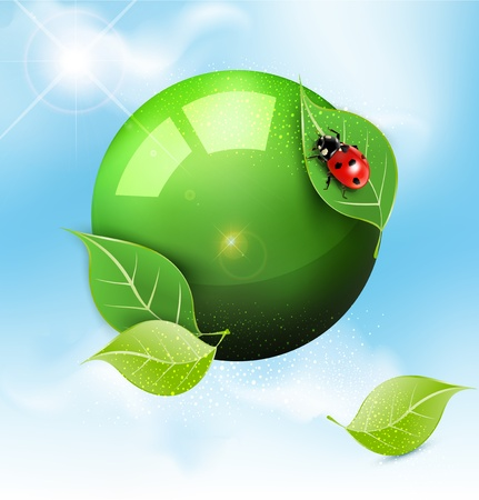 vector green globe with leaves and ladybug against the blue sky Vector