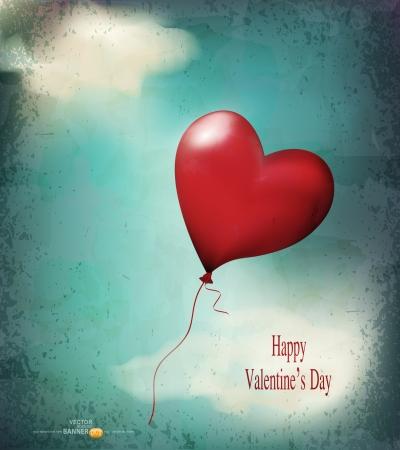 heart balloon: vector retro card  balloon-hearts flying in the sky