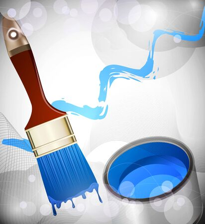 Background with a brush and a can of paint Stock Vector - 17470860