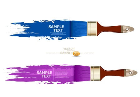 tint: set, banner with brushes, paints. space for text Illustration