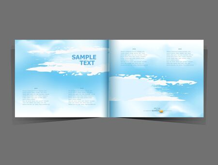 module: background with a blue sky in the form of a booklet