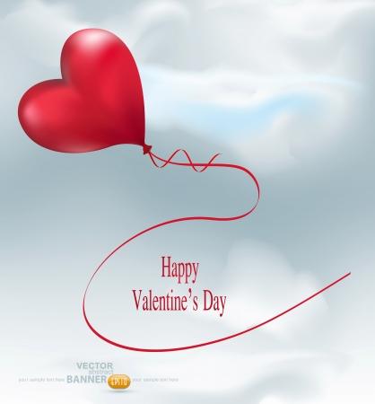 balloon-hearts flying in the sky Stock Vector - 17470839