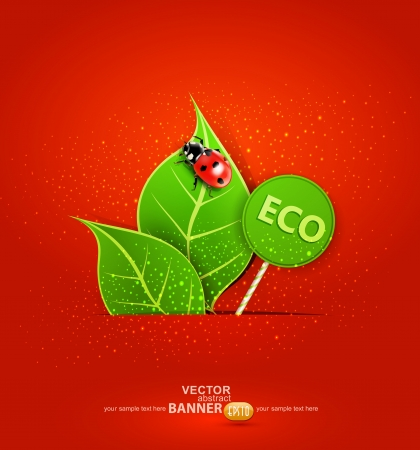 red background with leafs and ladybird Stock Vector - 17470844