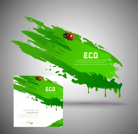 element for design, in the form of green paint smear and ladybird Stock Vector - 17470862