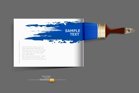 background / brochure with a brush which draws the blue Stock Vector - 17470841