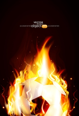 vector background with a burning soccer Ball Vector