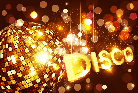 vector disco background with golden disco ball and gold lettering