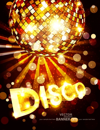 evening ball: vertical vector disco background with golden disco ball and gold lettering