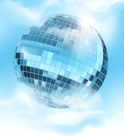 vector background with a mirrored disco ball reflecting blue sky and clouds Stock Vector - 17772232