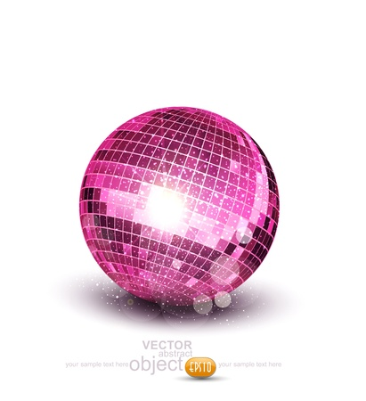 mirror ball: Vector pink disco ball on a white background Illustration