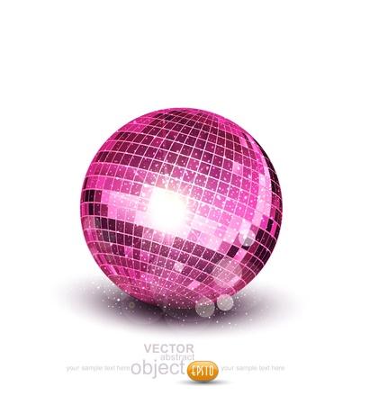 disco parties: Vector rosa bola del disco en un fondo blanco Vectores