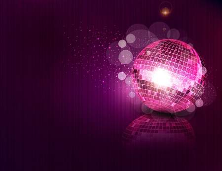 party background: vector background with a mirror ball and reflection