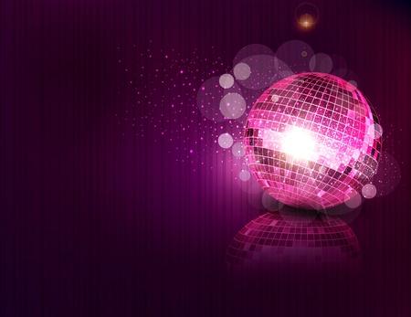 fiestas discoteca: vector de fondo con una bola de espejos y reflexi�n