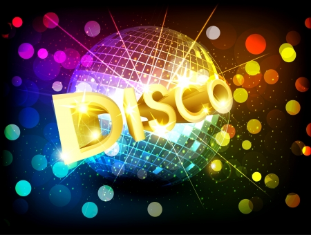 vector disco background with disco ball and gold lettering Vector