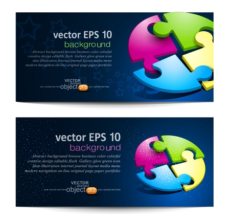 Vector set with business backgrounds with puzzles Vector