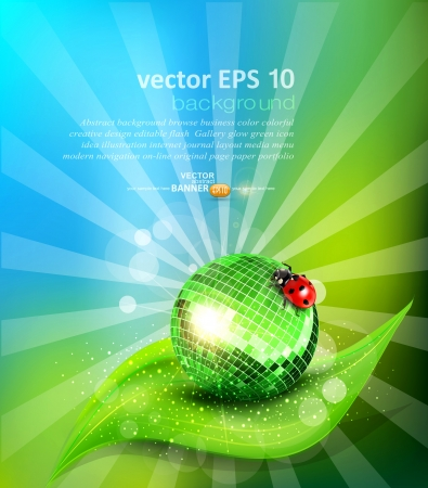 mirrored: vector background with leaf, mirrored disco ball and a ladybug