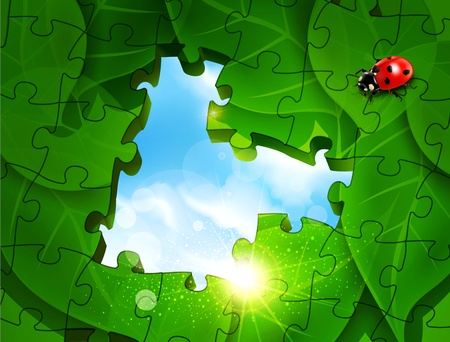 Vector abstract background in the form of puzzles with green leaves, ladybug and blue sky Stock Vector - 17772218