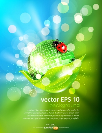 vector background with leaf, mirrored disco ball and a ladybug Vector
